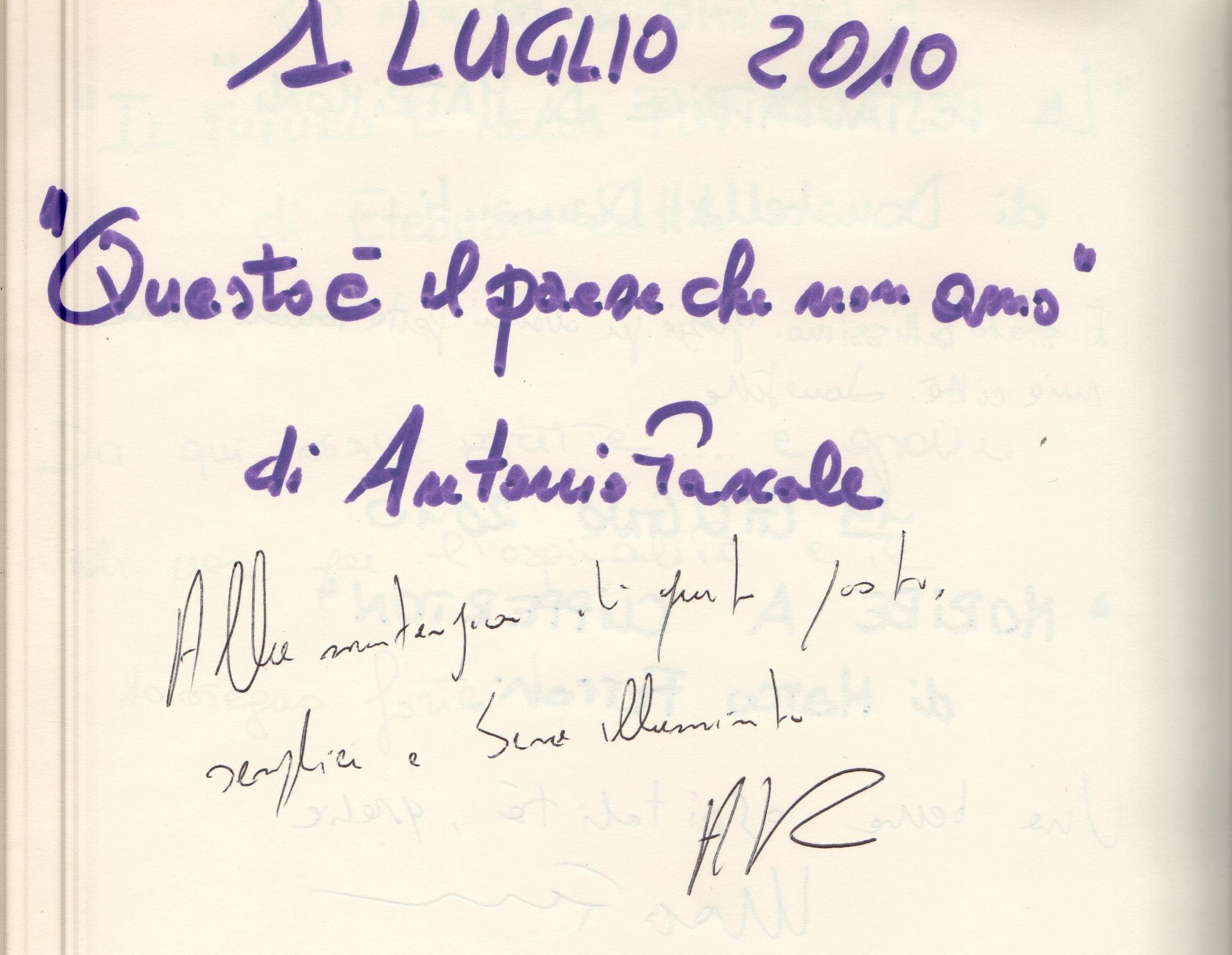 """""""Questo è il paese che non amo"""" di Antonio Pascale"""